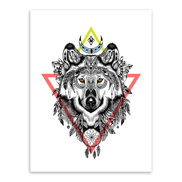Vintage Retro Black White Deer Lion Head Animal A4 Art Print Poster Living Room Wall Picture Canvas Painting No Frame Home Decor