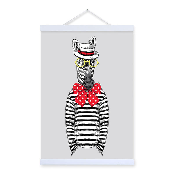Zebra Modern Fashion Gentleman Animals Portrait A4 Large Wooden Framed Canvas Painting Wall Art Prints Picture Poster Home Decor