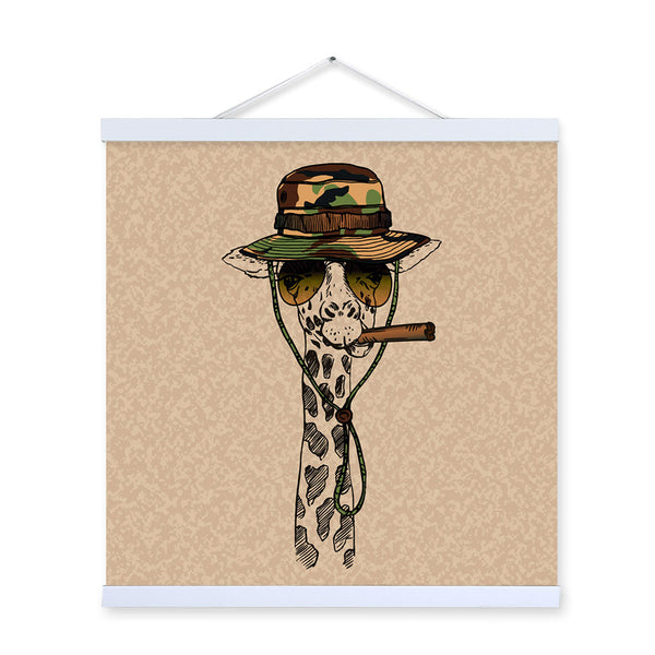Giraffe Face Gentleman Animal Portrait Hippie Military A4 Framed Canvas Painting Wall Art Print Picture Poster Scroll Home Decor