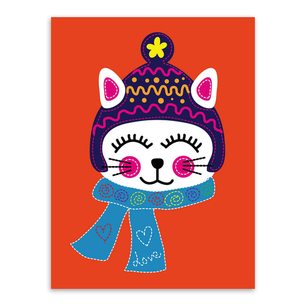 Modern Kawaii Red Animal Cat Smile Canvas A4 Large Art Print Poster Nursery Wall Picture Kids Baby Room Decor Painting No Frame