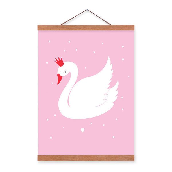 Pink Kawaii Animal Cute Swan Wood Framed Canvas Painting Home Kids Baby Room Decor Nuresery Wall Art Print Picture Poster Scroll