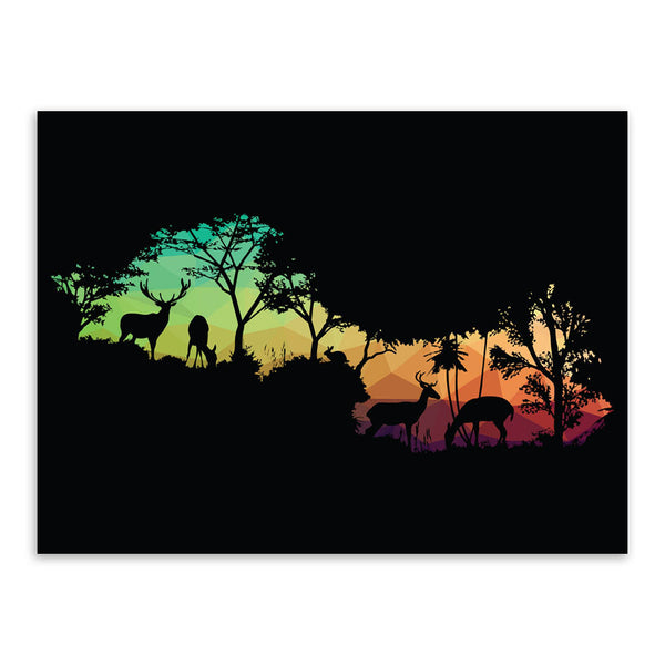 Modern Nordic Wild Animals Horse Silhouette Portrait Canvas A4 Art Print Poster Wall Picture Living Room Decor Painting No Frame
