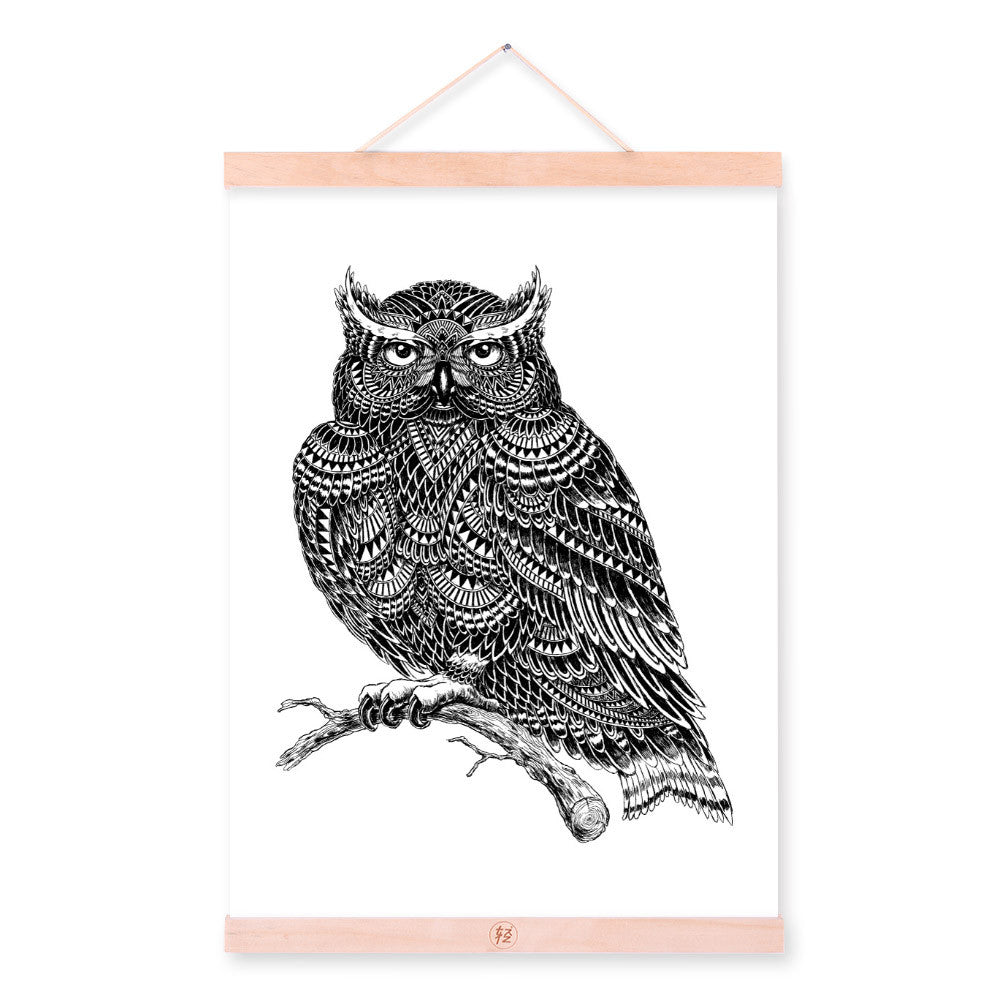 Modern Owl Black White Animals Bird Head Portrait Totem A4 Wooden Framed Canvas Painting Wall Art Print Picture Poster Home Deco
