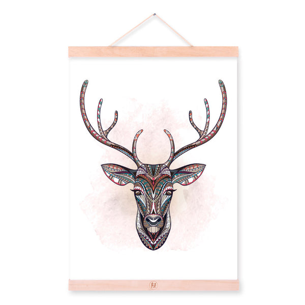 Modern Ancient African National Totem Animals Deer Head A4 Framed Canvas Painting Wall Art Prints Picture Poster Home Decoration
