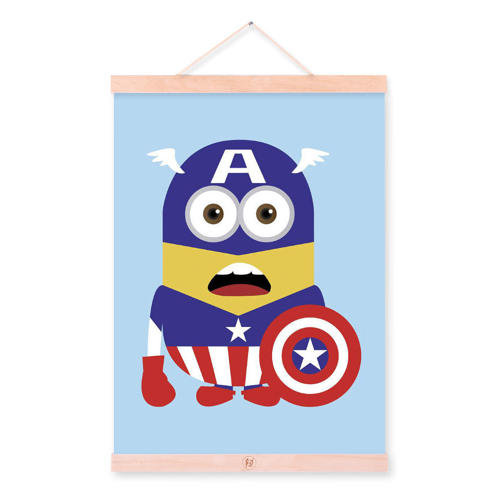 Cap Minions Superhero Avengers Pop Movie Cartoon A4 Wood Framed Canvas Painting Wall Art Print Picture Poster Hanger Home Deco
