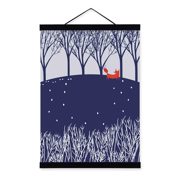 Modern Nordic Kawaii Animal Fox Forest Wooden Framed Canvas Painting Wall Art Print Picture Poster Hanger Kids Room Decoration