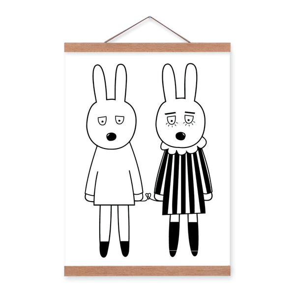 Minimalist Black White Nordic Rabbit Sister Animal Cartoon Framed Canvas Painting Wall Art Print Picture Poster Girl Room Deco