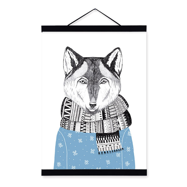 Watercolor Modern Nordic Kawaii Animal Wolf A4 Framed Canvas Painting Wall Art Prints Pictures Poster Kids Room Home Decoration