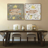Vintage Retro Fish Dish Food Poster Print Animal Picture Canvas Painting Japanese Kitchen Home Restaurant Wall Art Deco No Frame