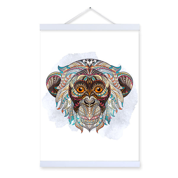 Modern Ancient African National Animals Monkey Face Totem A4 Big Framed Canvas Painting Wall Art Print Picture Poster Home Decor