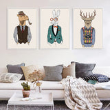 Modern Fashion Animals Hippie Deer Lion Zebra Giraffe Art Print Poster  Wall Picture Canvas Painting Living Room Decor No Frame