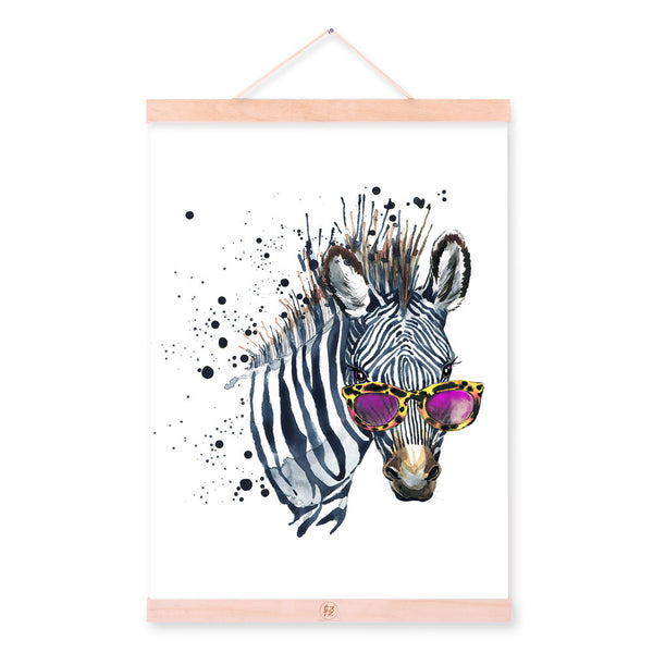 Zebra Watercolor Fashion Animal Wildlife Portrait Wood Framed Canvas Painting Wall Art Print Picture Poster Kids Room Home Decor