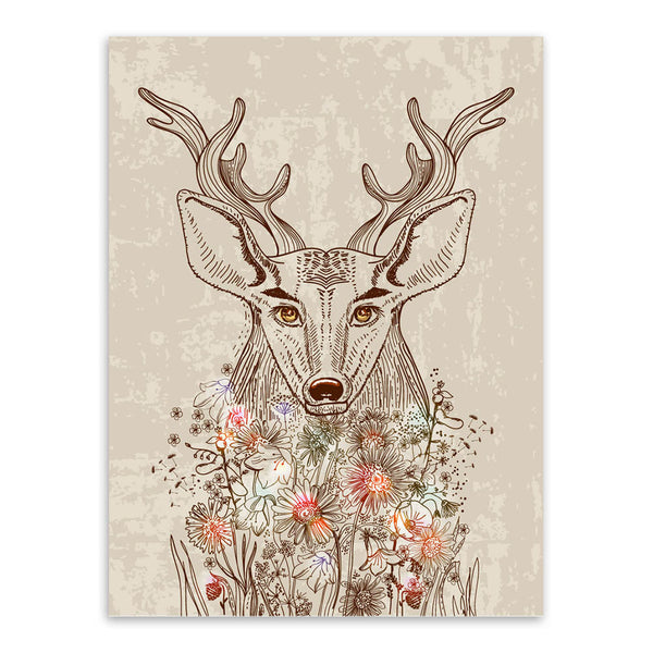 Nordic Vintage Retro Animals Deer Forest Flower A4 Art Print Poster Wall Picture Living Room Canvas Painting Home Decor No Frame