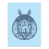 Cartoon Kawaii Blue Totoro Miyazaki Pop Japanese Anime Canvas A4 Art Print Poster Wall Picture Kids Room Decor Painting No Frame