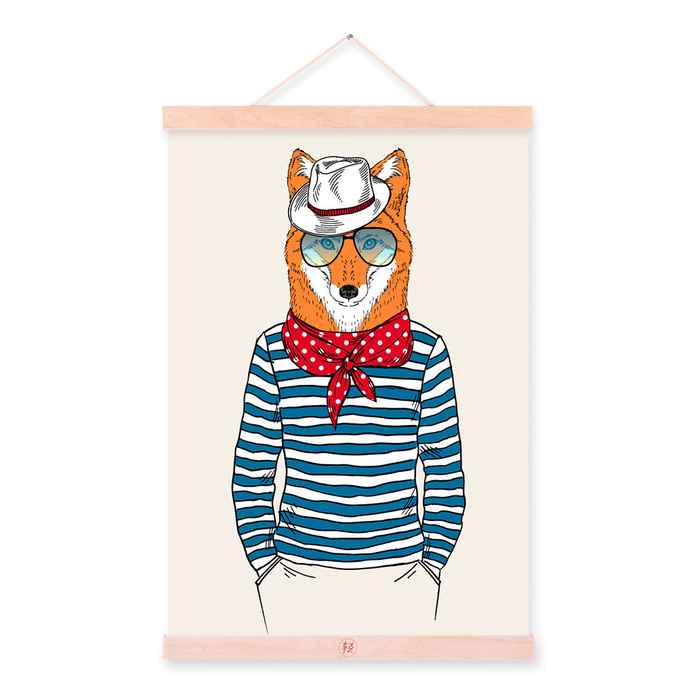 Fox Face Modern Fashion Gentleman Animal Portrait Hipster Framed Canvas Painting Wall Art Print Picture Poster Scroll Home Decor