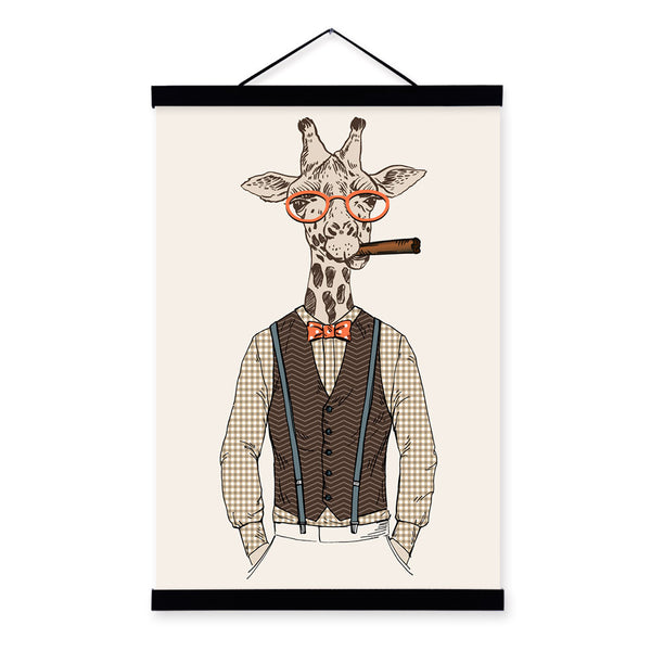 Giraffe Modern Fashion Gentleman Animals Portrait Hipster Framed Canvas Painting Wall Art Print Picture Poster Scroll Home Decor