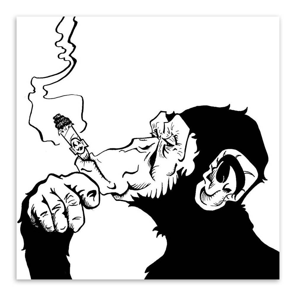 Black white animals smoking gorilla modern abstract canvas art print p ellaseal