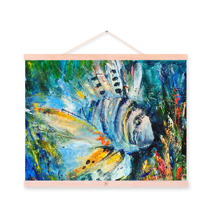 Blue Lion Fish Modern Impressionism Colorful A4 Wooden Framed Canvas Oil Painting Wall Art Print Picture Poster Scroll Home Deco