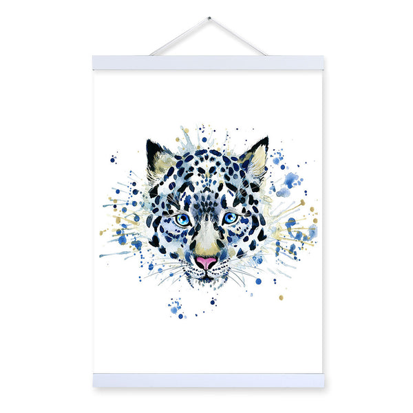Snow Leopard Watercolor Fashion Animal Portrait Wooden Framed Canvas Painting Wall Art Print Picture Poster Kids Room Home Decor