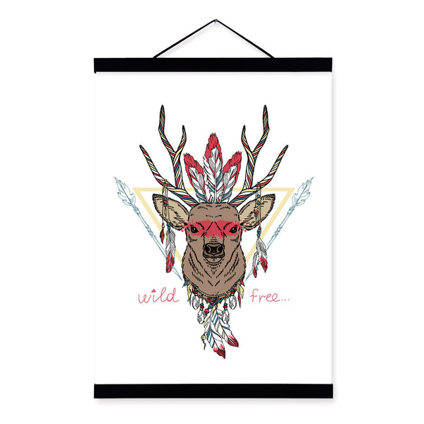 Deer Ancient Indian Animals Head Feather Graphic Personalised A4 Framed Canvas Painting Wall Art Print Picture Poster Home Decor
