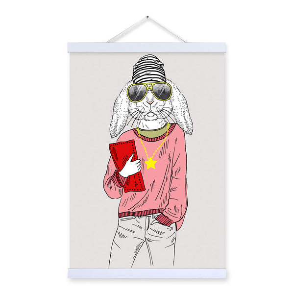 Girl Bunny Rabbit Modern Fashion Design Beauty Animal Hipster Framed Canvas Painting Wall Art Prints Picture Poster Hanger Decor