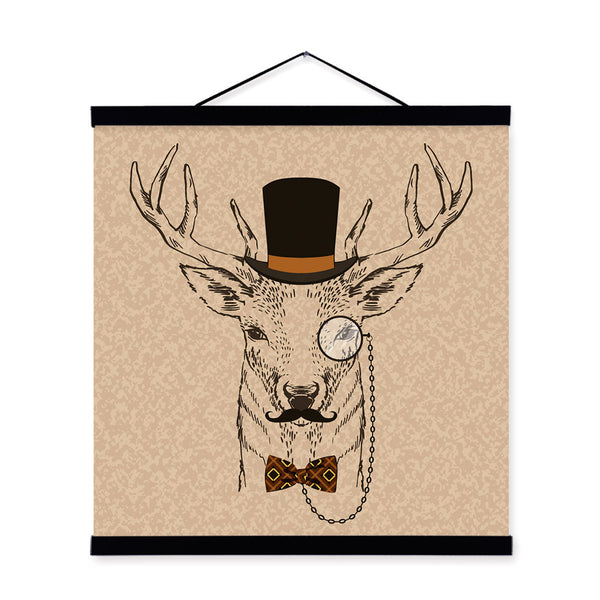 Deer Head Vintage Retro Gentleman Animal Portrait Wooden Framed Canvas Painting Wall Art Print Picture Poster bedroom Home Decor