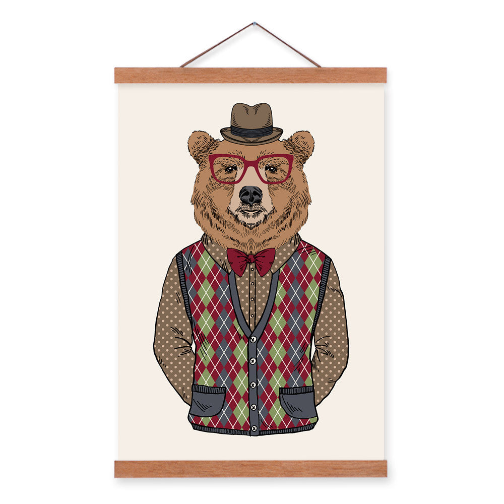 Bear Modern Fashion Gentleman Abstract A4 Wooden Framed Canvas Painting Wall Art Prints Picture Poster Scroll Bedroom Home Decor