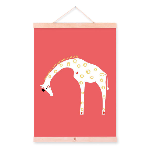 Nordic Minimalist Cartoon Animals Giraffe A4 Wooden Framed Canvas Painting Wall Art Print Picture Poster Hanger Kids Room Deco
