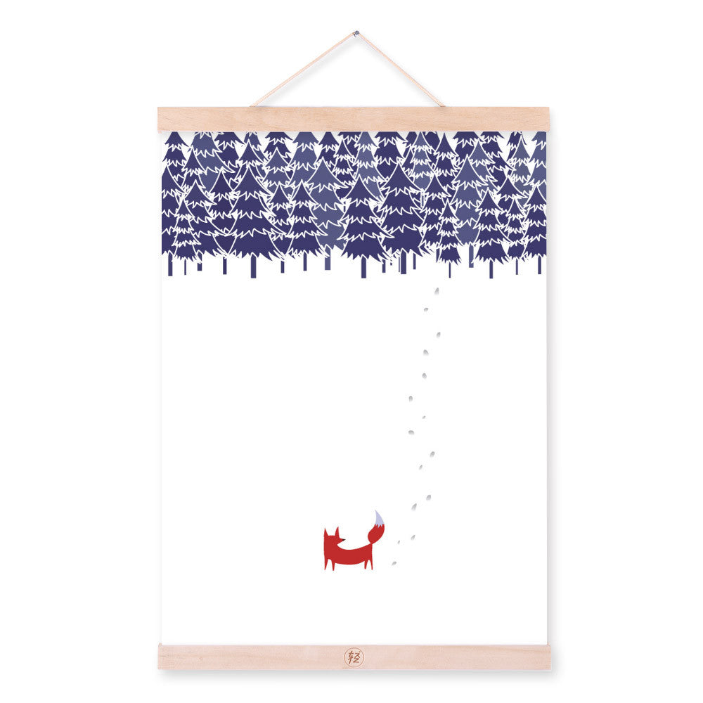 Modern Nordic White Snow Kawaii Animal Fox A4 Wooden Framed Canvas Painting Wall Art Print Picture Poster Hanger Kids Room Decor