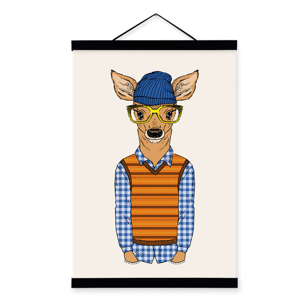 Kid Deer Modern Fashion Gentleman Animals Portrait Framed Canvas Painting Wall Art Print Picture Poster Children Room Home Decor