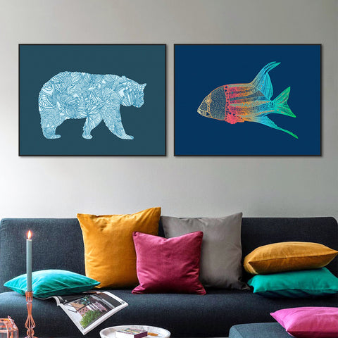 Abstract Modern Vintage Retro Animals Bear Goldfish Canvas Large A4 Poster Print Nordic Wall Art Living Room Decor Painting
