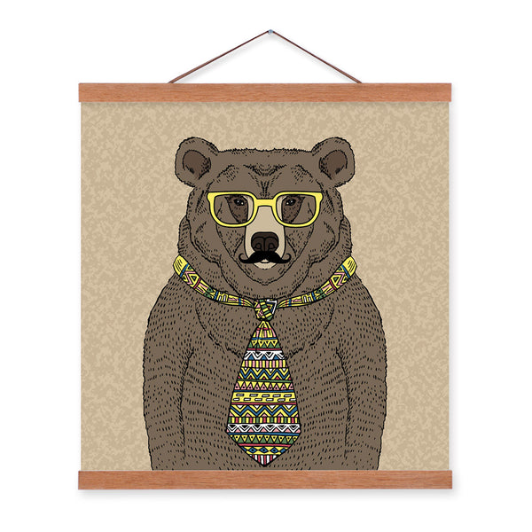 Black Bear Gentleman Animal Portrait Hipster Cartoon A4 Wooden Framed Canvas Painting Wall Art Prints Pictures Poster Home Decor