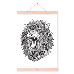 Lion Modern Abstract Black White Animal Head Portrait Totem Wood Framed Canvas Painting Wall Art Print Picture Poster Home Decor