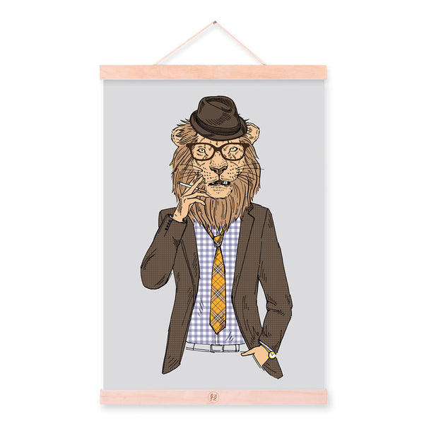 Lion Modern Fashion Gentleman Animal Portrait Wood Framed Canvas Painting Wall Art Print Picture Poster Hanger Office Home Decor