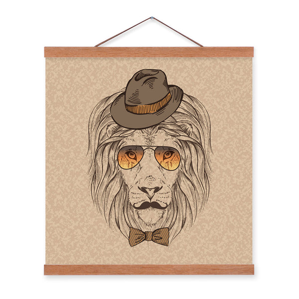 Lion Head Strong Gentleman Wildlife Animal Portrait Wood Framed Canvas Painting Wall Art Prints Picture Poster Hanger Home Decor