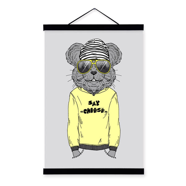 Mouse Modern Fashion Gentleman Animals Portrait Wooden Framed Canvas Painting Wall Art Print Picture Poster Kids Room Home Decor