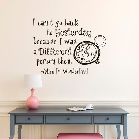 I Can't Go Back To Yesterday English Quotes Decasl Alice In Wonderland Series Vinyl Wall Mural Children Bedroom Art Decor D-308