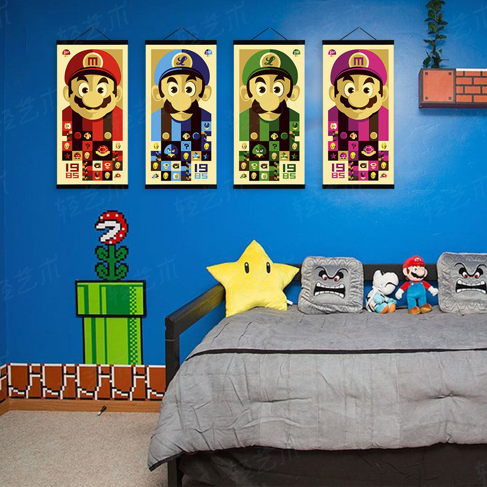 Super Mario Bros Figure Japanese Cartoon Pop Game Retro Art Print Poster  Wall Pictures Canvas Painting No Framed Kids Room Decor