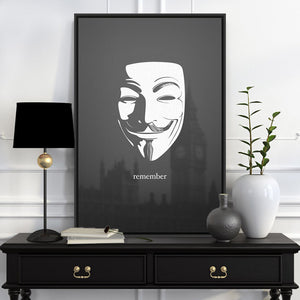 Modern Vendetta Black White Lodon Hero Mask Pop Movie A4 Large Art Print Poster Abstract Wall Picture Canvas Painting Home Decor
