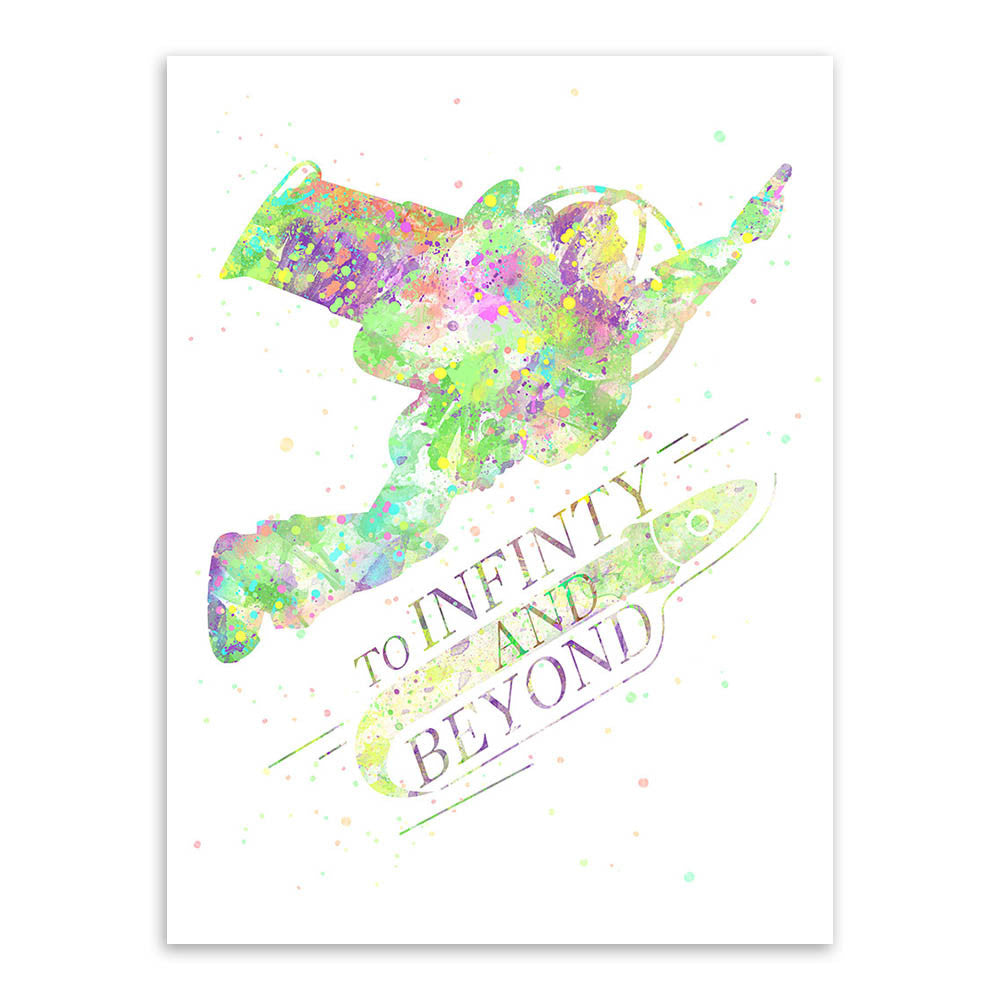 Watercolor Toy Story Infinity Motivational Quotes Kids Room Abstract Wall Art Pop Movie Anime Poster Print Canvas Painting Gifts