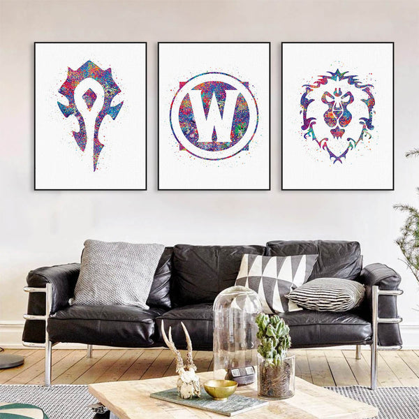 Original Watercolor WOW Alliance Horde Logo Game Movie A4 Art Print Poster Wall Picture Canvas Painting No Frame Boy Room Decor
