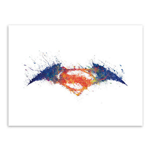 Original Watercolor Batman vs Superman Logo A4 Movie Art Print Poster Wall Picture Canvas Painting No Framed Gift Home Decor