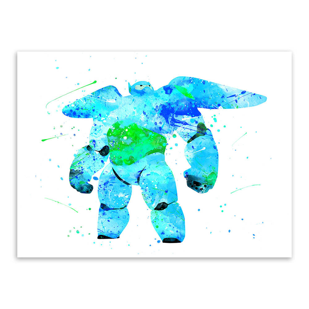 Original Watercolor Baymax Drawings Kids Room Modern Abstract Wall Art A4 Large Movie Anime Poster Prints Canvas Paintings Gifts
