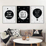 Nordic Black White Typography Dream Life Quotes Art Print Poster Nursery Wall Picture Living Room Decor Canvas Painting No Frame