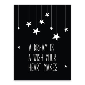 Kids Dreams Star Quote Black /& White Print Modern Nursery Room Wall Art Picture