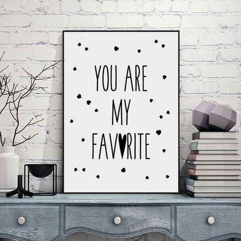 Black White Nordic Minimalist Typography Love Heart Quotes A4 Art Print Poster Wall Picture Canvas Painting Girl Kids Room Decor