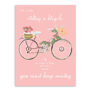 Flower Rose Bike Bicycle Motivational Typography Quotes Art Print Poster Rural Wall Picture Canvas Painting Girl Room Home Decor