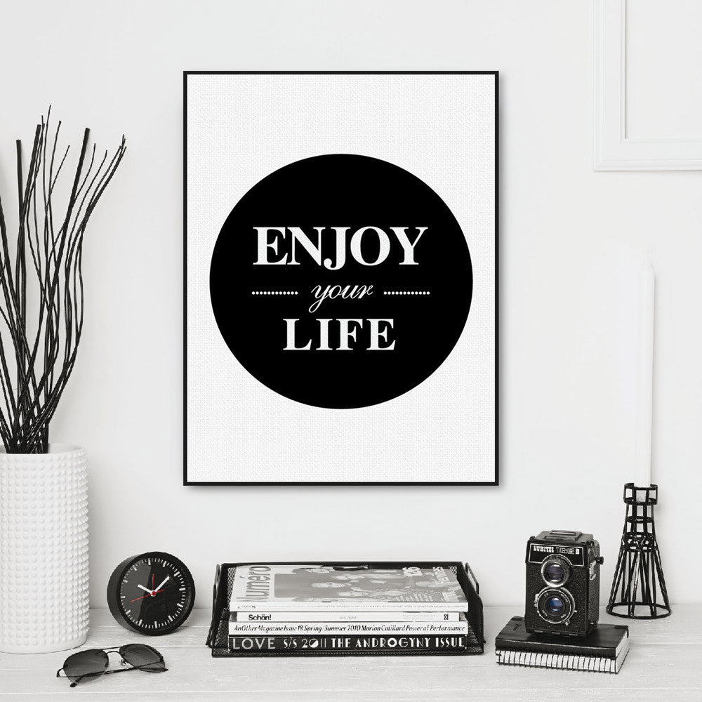 Minimalist Black White Enjoy Life Typography Quote Art Print Poster Wall Picture Living Room Canvas Painting No Frame Home Decor