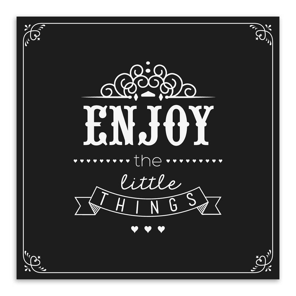 Minimalist Black White Vintage Retro Motivational Typography Enjoy Quotes A4 Art Print Picture Wall Picture Canvas Painting Deco