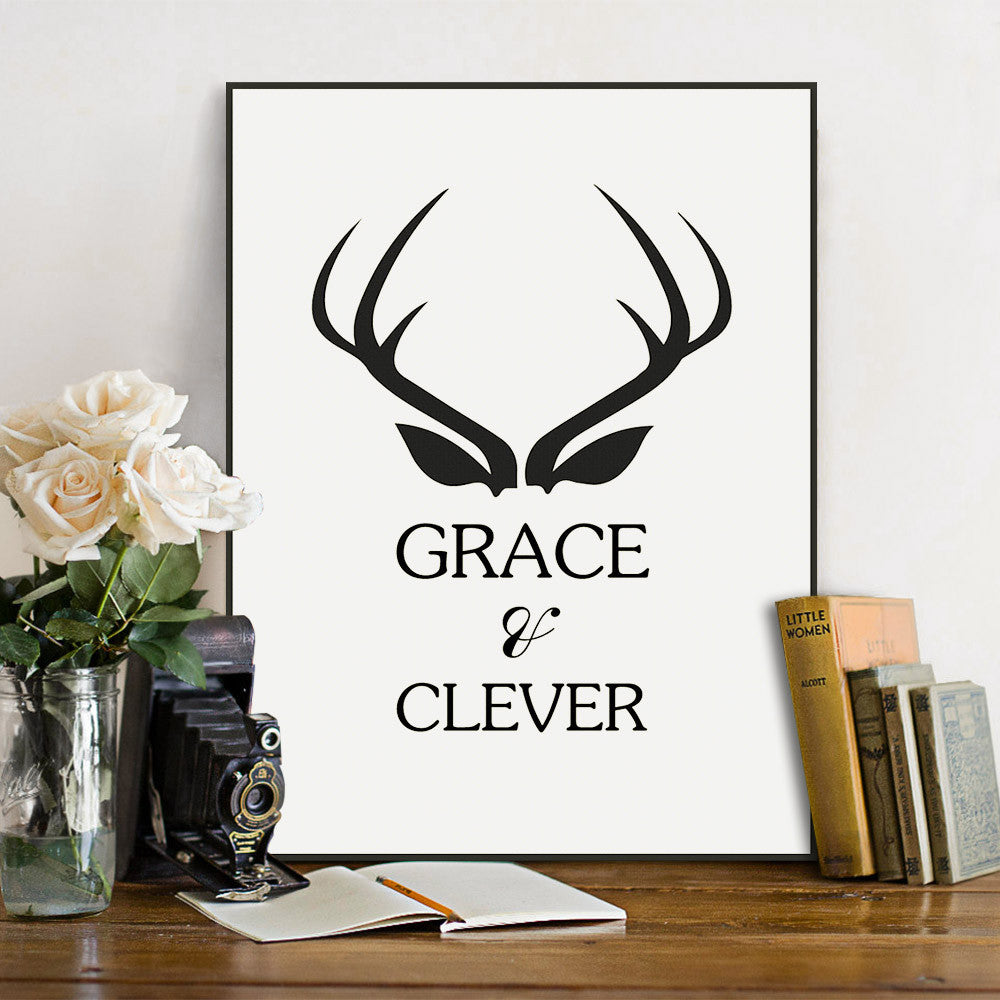 Modern Nordic Minimalist Black White Typography Quotes Deer Art Print Poster Wall Picture Living Room Canvas Painting Home Decor